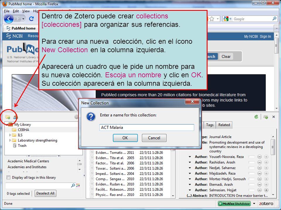 Dentro de Zotero puede crear collections [colecciones] para organizar sus referencias.